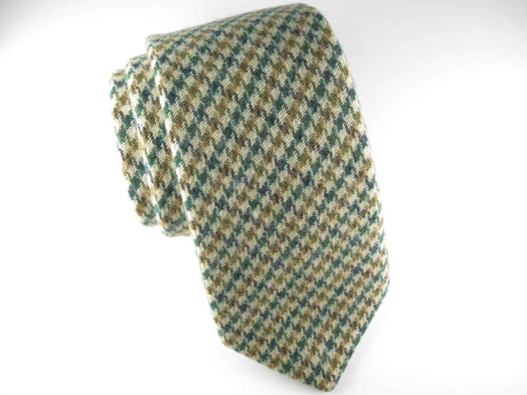 SuitedMan D'Italia Tie, Houndstooth, Green/Tan - SuitedMan