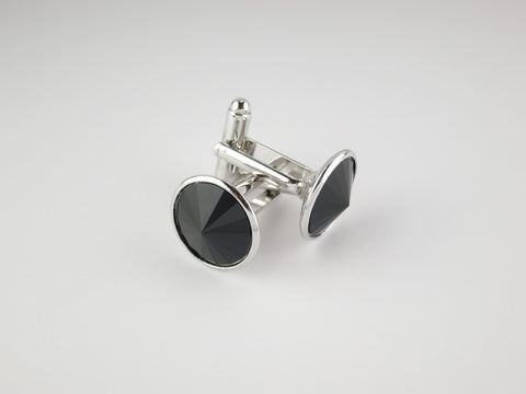 Crystal Cufflinks with Silver Trim, Onyx - SuitedMan