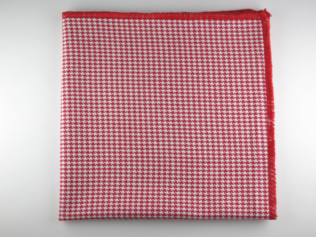Pocket Square, Houndstooth, Red - SuitedMan