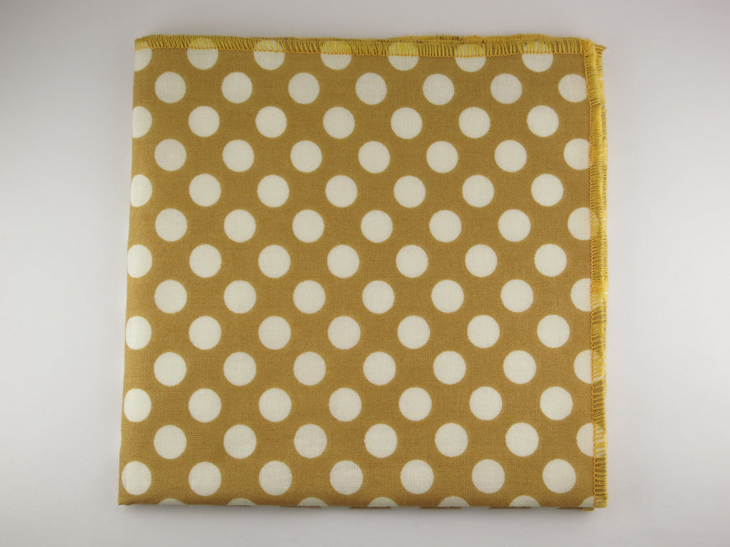 Pocket Square, Dots, Old Gold/Cream - SuitedMan