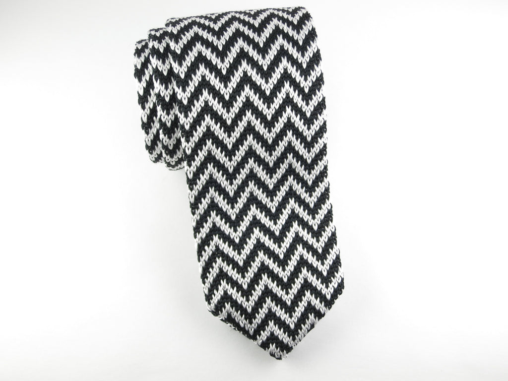 Knit Tie, Chevron, Black - SuitedMan