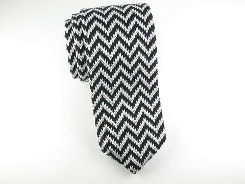 Knit Tie, Chevron, Black