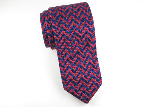 Knit Tie, Chevron, Navy/Red - SuitedMan
