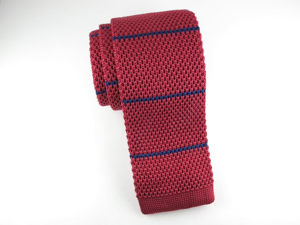 Knit Tie, Stripes, Red/Navy - SuitedMan