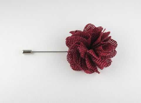 Pin Lapel Flower, Burlap, Scarlet