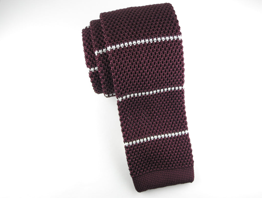 Knit Tie, Stripes, Burgundy/White - SuitedMan