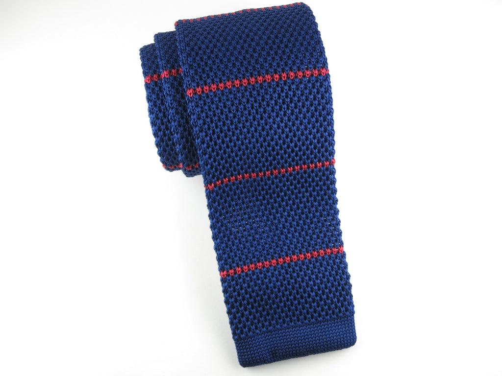 Knit Tie, Stripes, Navy/Red - SuitedMan