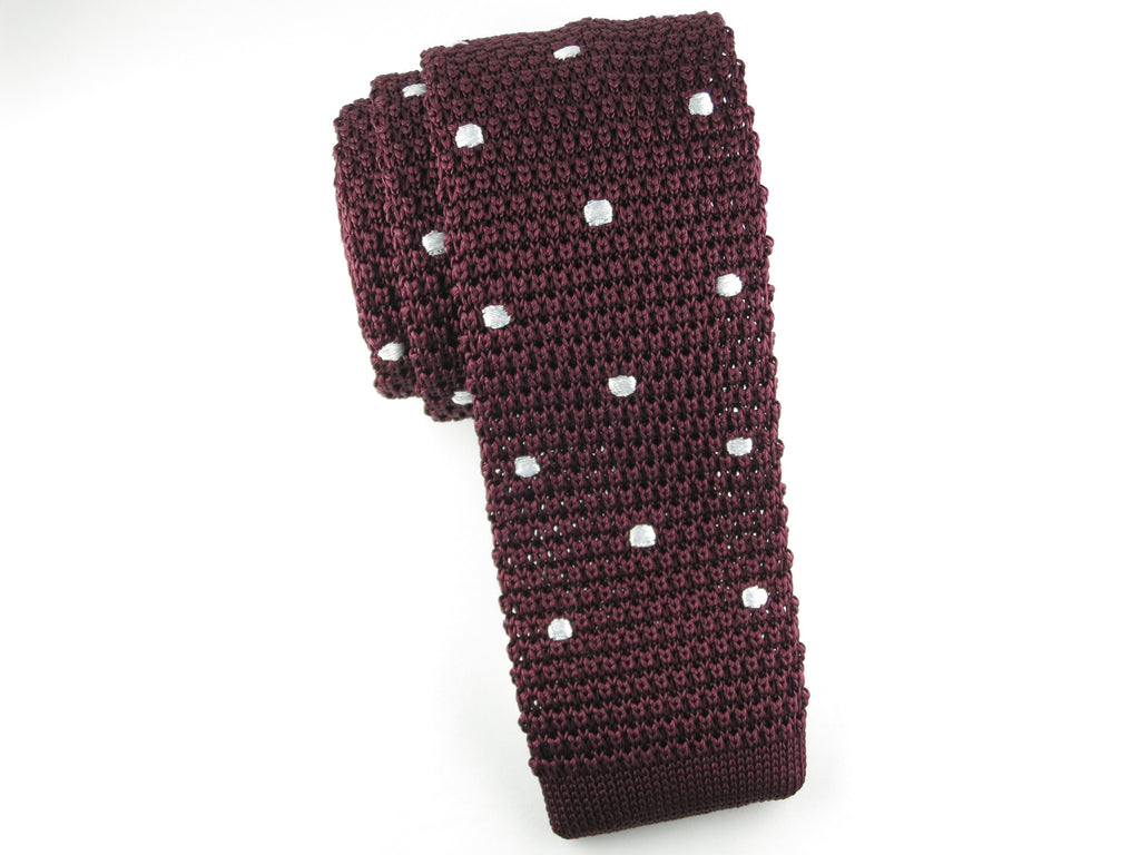 Knit Tie, Polka Dots, Burgundy/White - SuitedMan