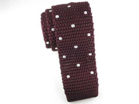 Knit Tie, Polka Dots, Burgundy/White