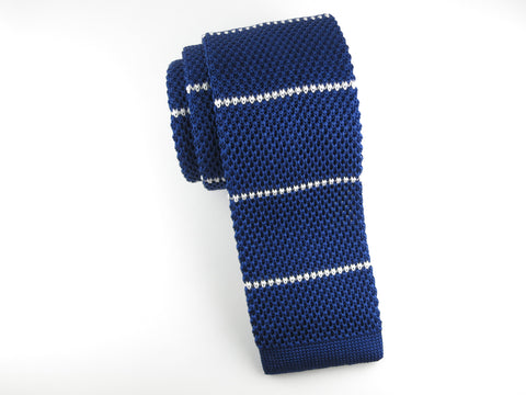 Knit Tie, Stripes, Navy/White, Silk