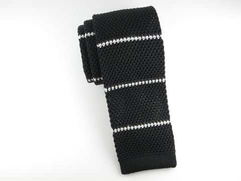 Knit Tie, Stripes, Black/White, Silk