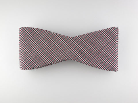 Bow Tie, Puppytooth, Black/Red, Flat End - SuitedMan