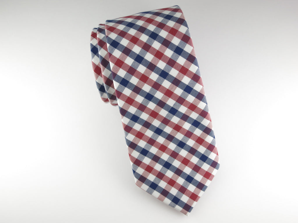 Tie, Gingham, Red/Blue - SuitedMan