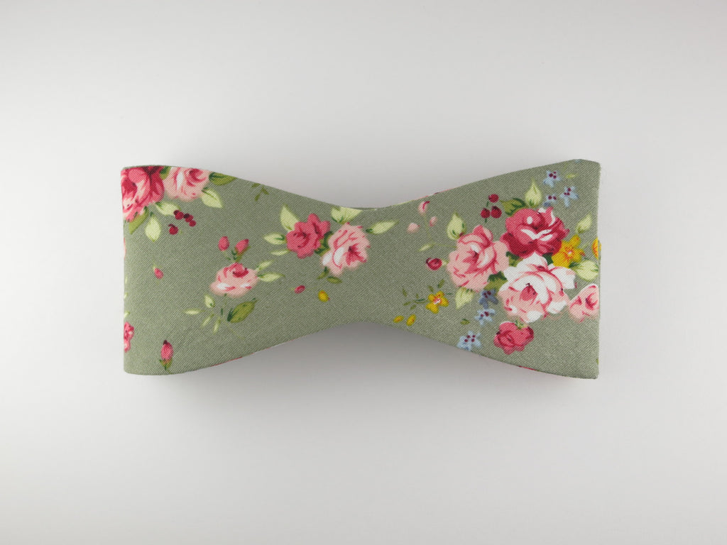 Floral Bow Tie, Olive Rose, Flat End - SuitedMan