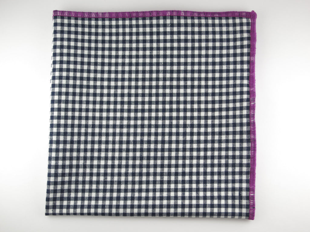 Pocket Square, Gingham, Navy/Plum - SuitedMan