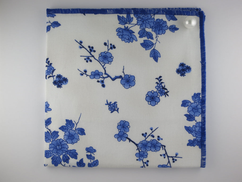 Pocket Square, Blue Porcelain, With Pearl Pin Combo - SuitedMan