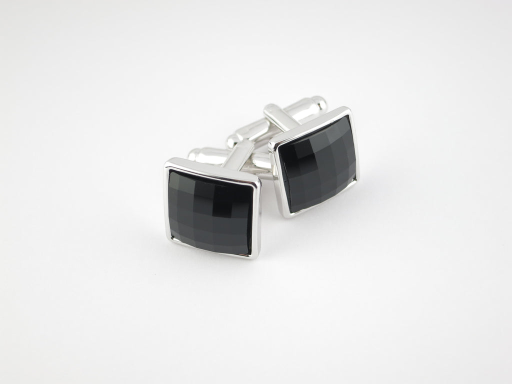 Crystal Square Cufflinks, Onyx - SuitedMan