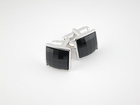 Crystal Square Cufflinks, Onyx