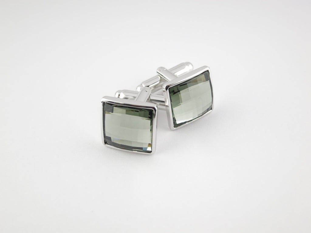 Crystal Square Cufflinks, Smoke Diamond - SuitedMan