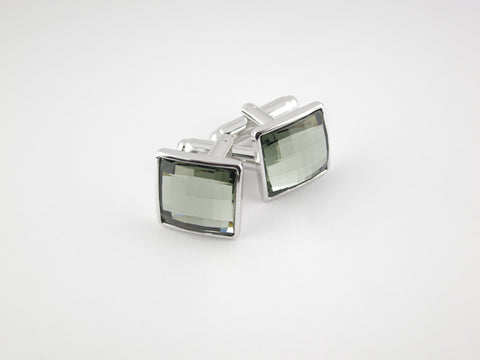 Crystal Square Cufflinks, Smoke Diamond