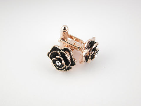 Crystal Rose Cufflinks, Rose Gold