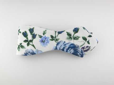 Floral Bow Tie, Vintage Blue, Pointed End
