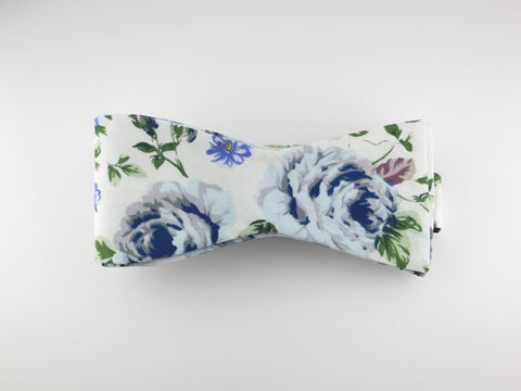 Floral Bow Tie, Vintage Blue, Flat End - SuitedMan