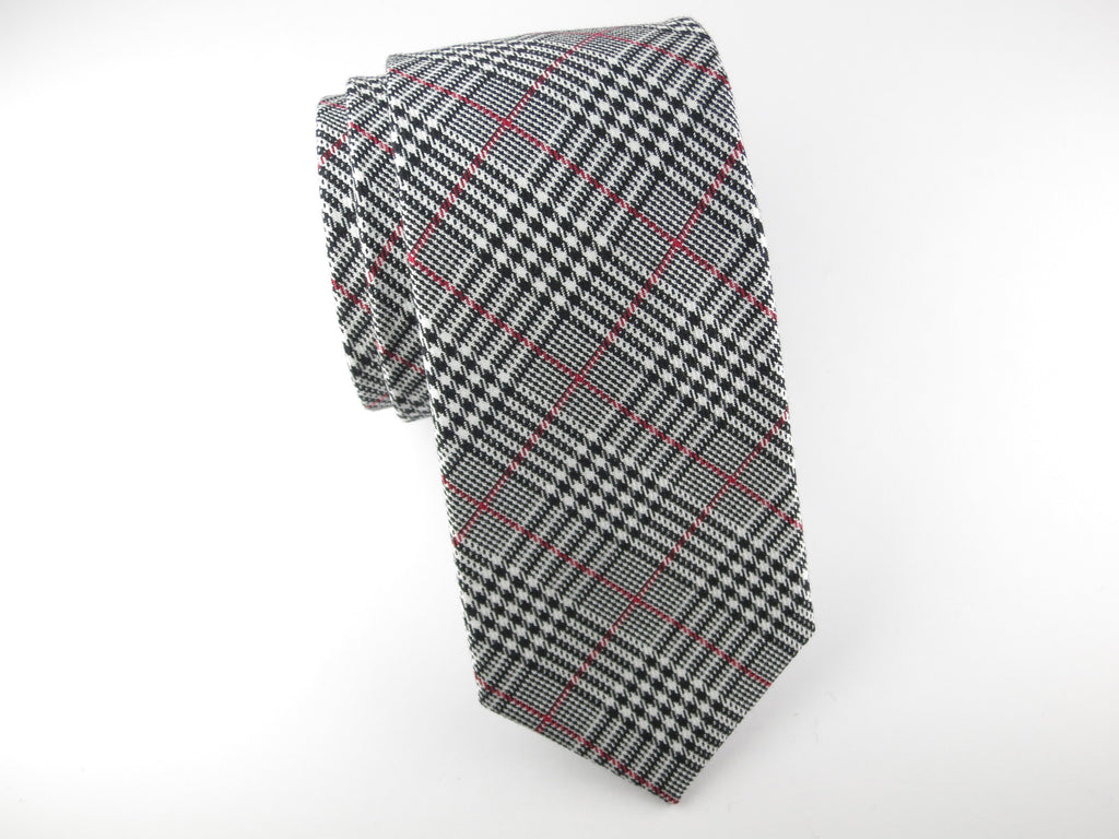 Tie, Glen Plaid, Black/White/Red - SuitedMan