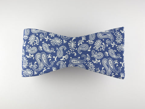 Bow Tie, Vintage Blue Paisley, Flat End - SuitedMan