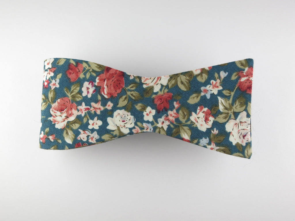 Floral Bow Tie, Antique Rose, Flat End (Extremely Limited) - SuitedMan