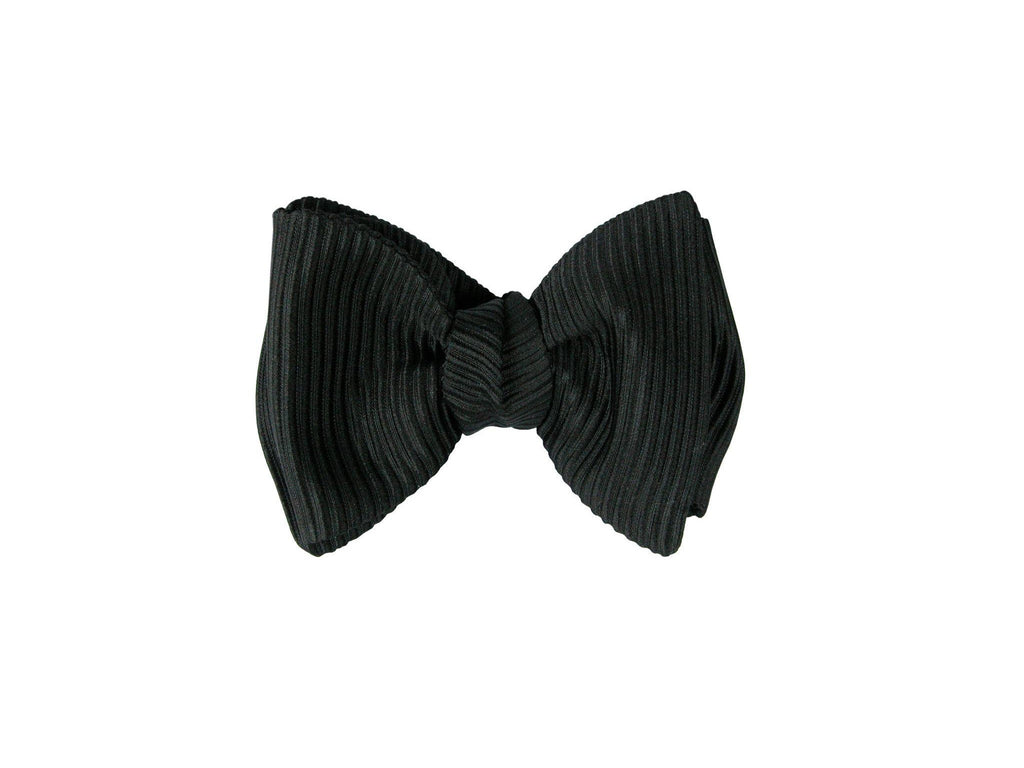 SuitedMan D'Italia Bow Tie, Black Grosgrain, Flat End - SuitedMan