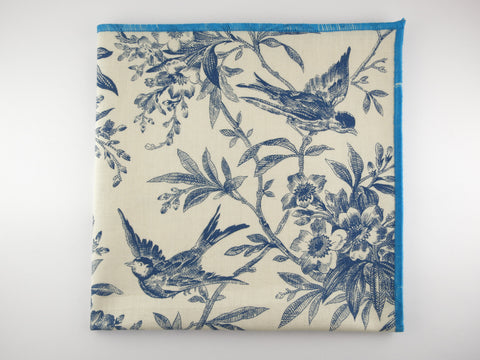 Pocket Square, Vintage Blue Robin