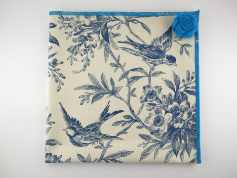 Pocket Square, Vintage Blue Robin with Rosette Pin Combo - SuitedMan
