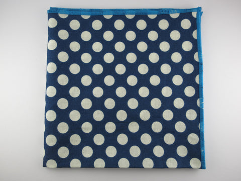 Pocket Square, Dots, Navy/Cream