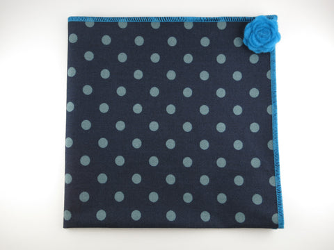 Pocket Square, Navy/Blue Dots with Rosette Pin Combo