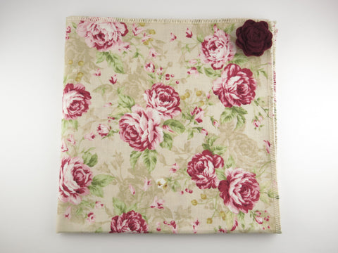 Pocket Square, Vintage Rose with Rosette Pin Combo