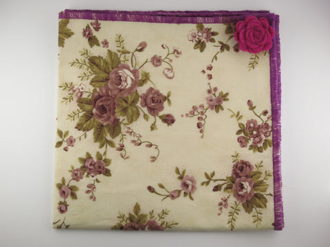 Pocket Square, Plum Rose with Rosette Pin Combo - SuitedMan