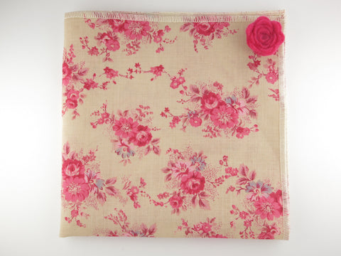 Pocket Square, Vintage Pink Floral with Rosette Pin Combo