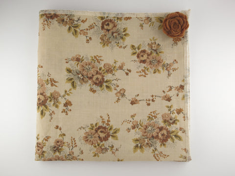 Pocket Square, Vintage Brown Floral with Rosette Pin Combo
