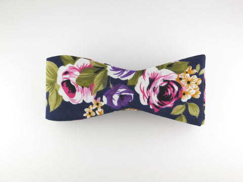 Floral Bow Tie, Navy Floral, Flat End - SuitedMan