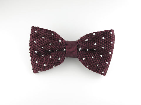 Knit Bow Tie, Dots, Burgundy/White, Flat End