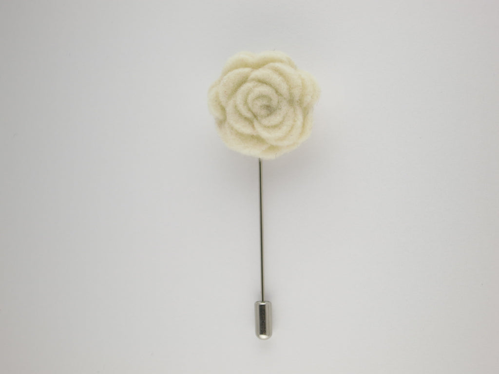 Pin Lapel Flower, Felt, Rosette, Cream - SuitedMan