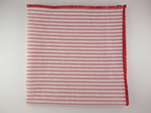 Pocket Square, Seersucker, Stripes, Coral Red