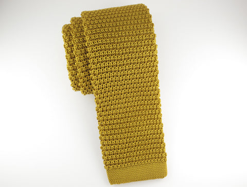 Knit Tie, Old Gold - SuitedMan