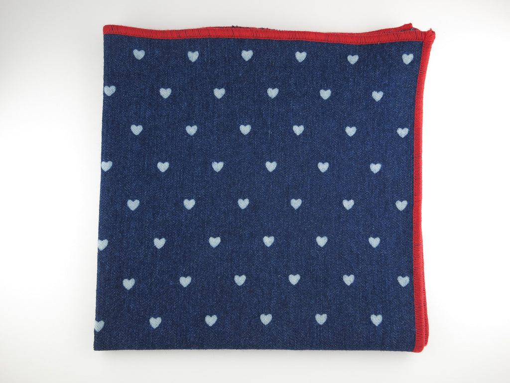 Pocket Square, Denim, Polka Hearts - SuitedMan