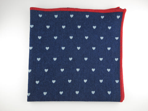 Pocket Square, Denim, Polka Hearts