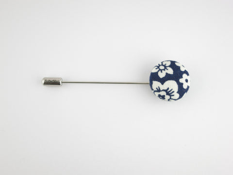 Pin Lapel Fabric Button, Navy Floral