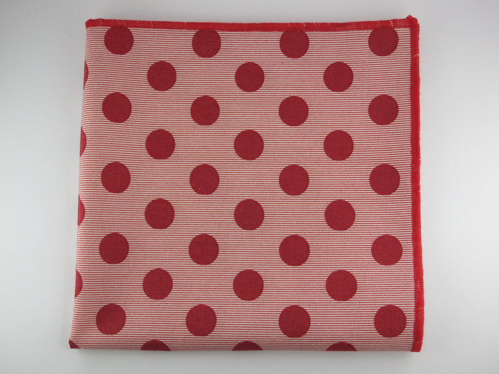 Pocket Square, Dots, Red Chambray Stripes - SuitedMan