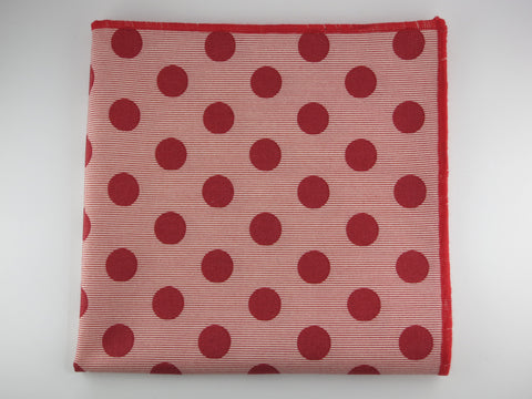 Pocket Square, Dots, Red Chambray Stripes