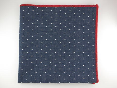 Pocket Square, Chambray Denim Dots